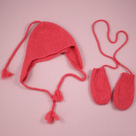 Bonnet et moufles cachemire taille 1