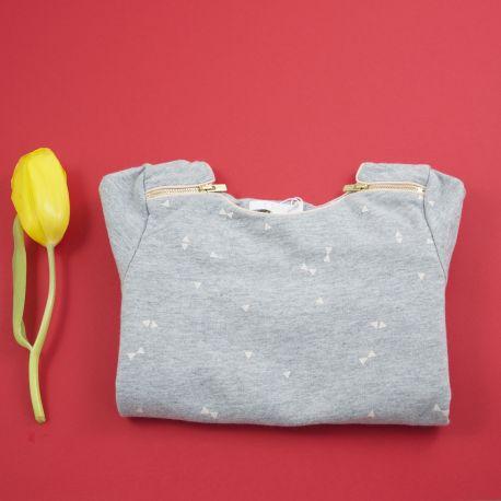 Sweat gris à motifs roses 2 ans Chloé