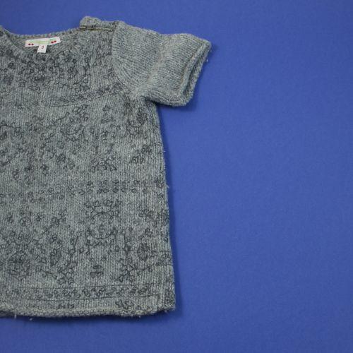 Pull long manches courtes gris laine 3 ans